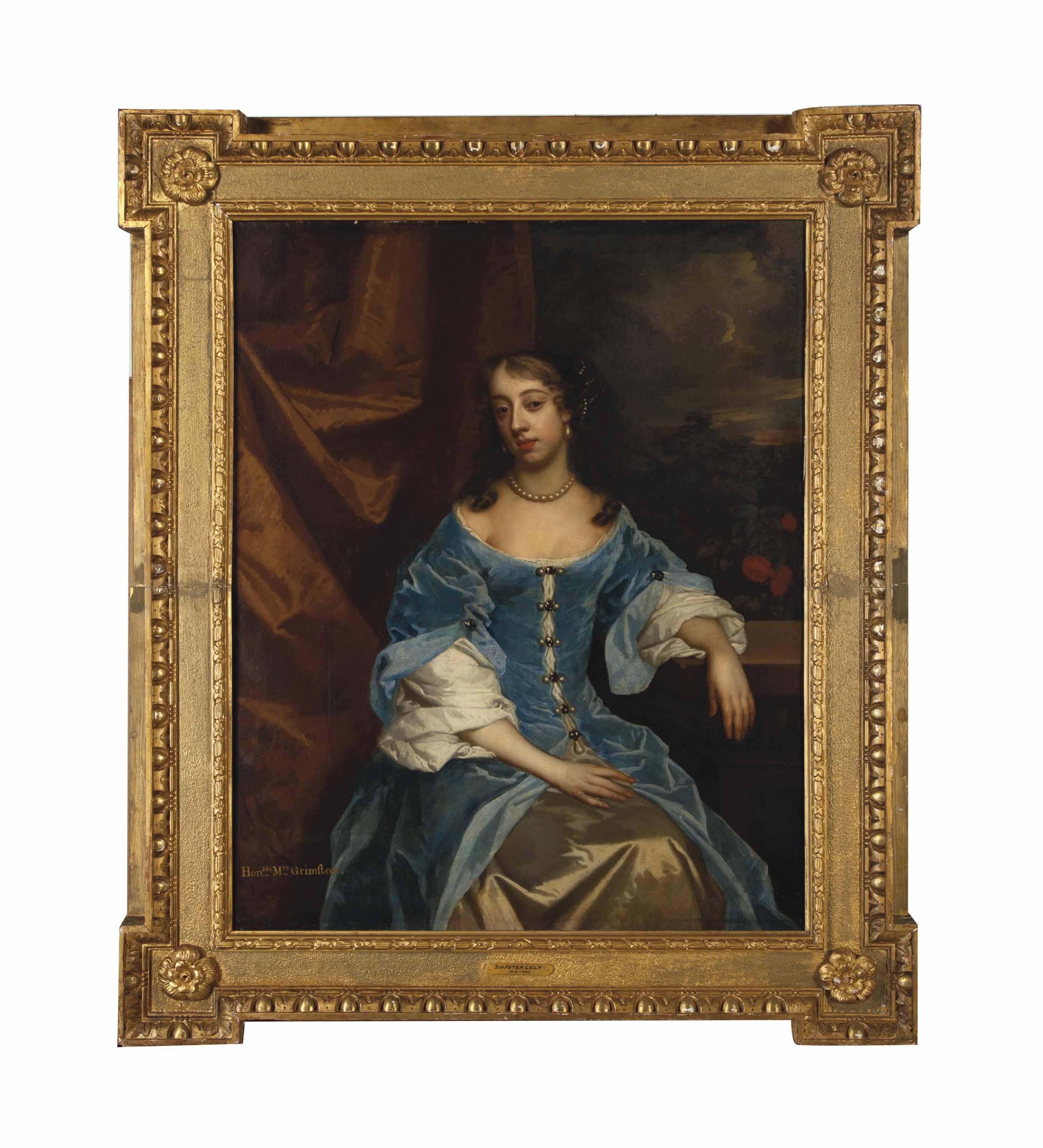 Portrait of the Hon. Mrs Grimston, Afterwards Lady Elizabeth Grimston, in a blue dress, resting her left arm on a pedestal