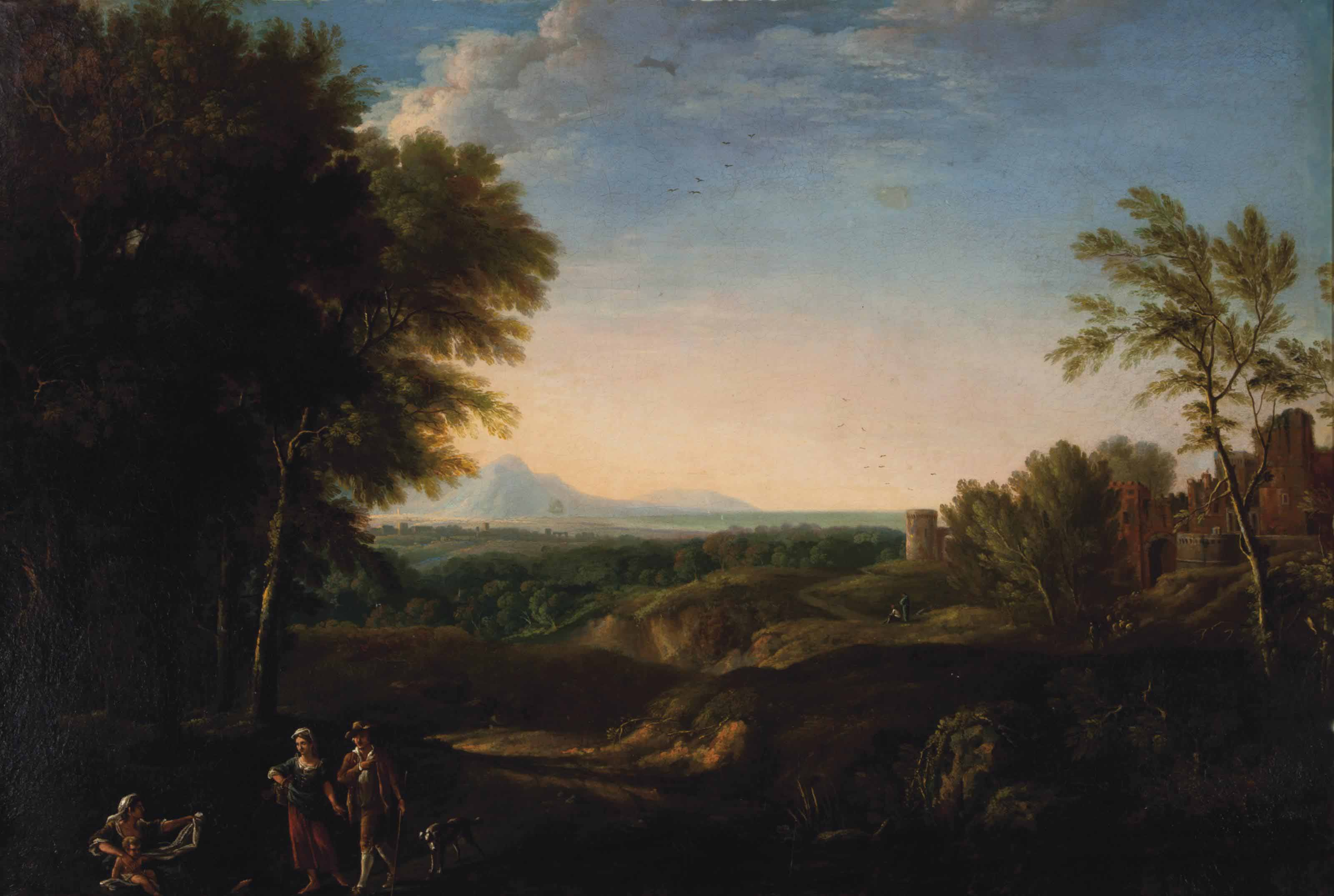 Pastoral landscape with travellers alongside a path