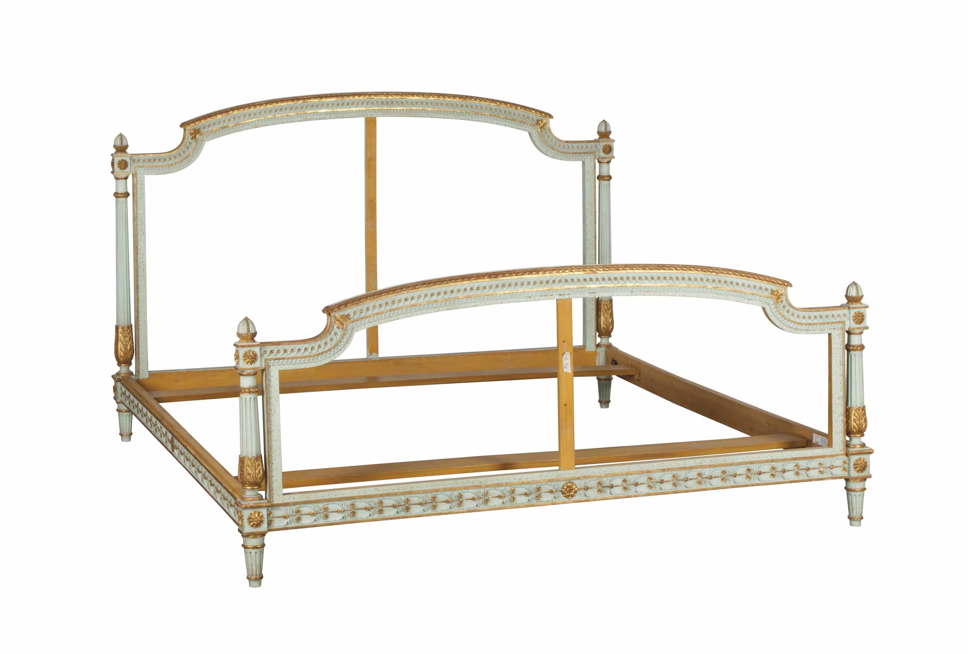 A LOUIS XVI STYLE BLUE GREEN PAINTED AND PARCEL GILT BED FRAME,