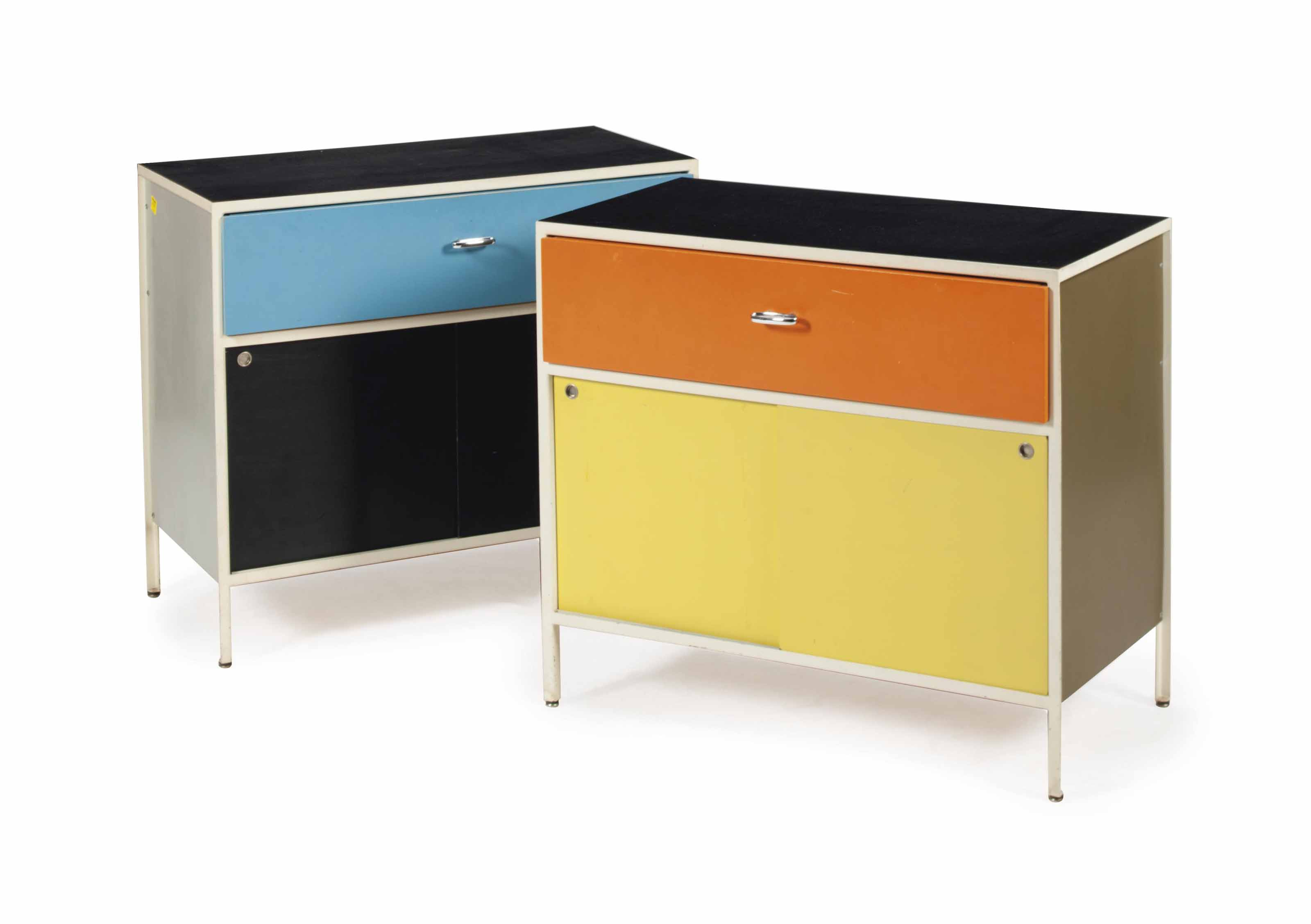 A PAIR OF WHITE ENAMELED-STEEL AND LACQUERED-WOOD 'MODEL 4035' SIDE CABINETS,