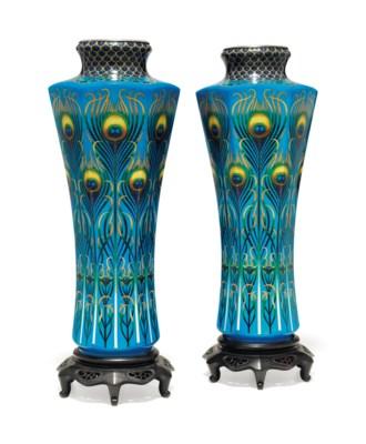 A pair of cloisonné enamel vas