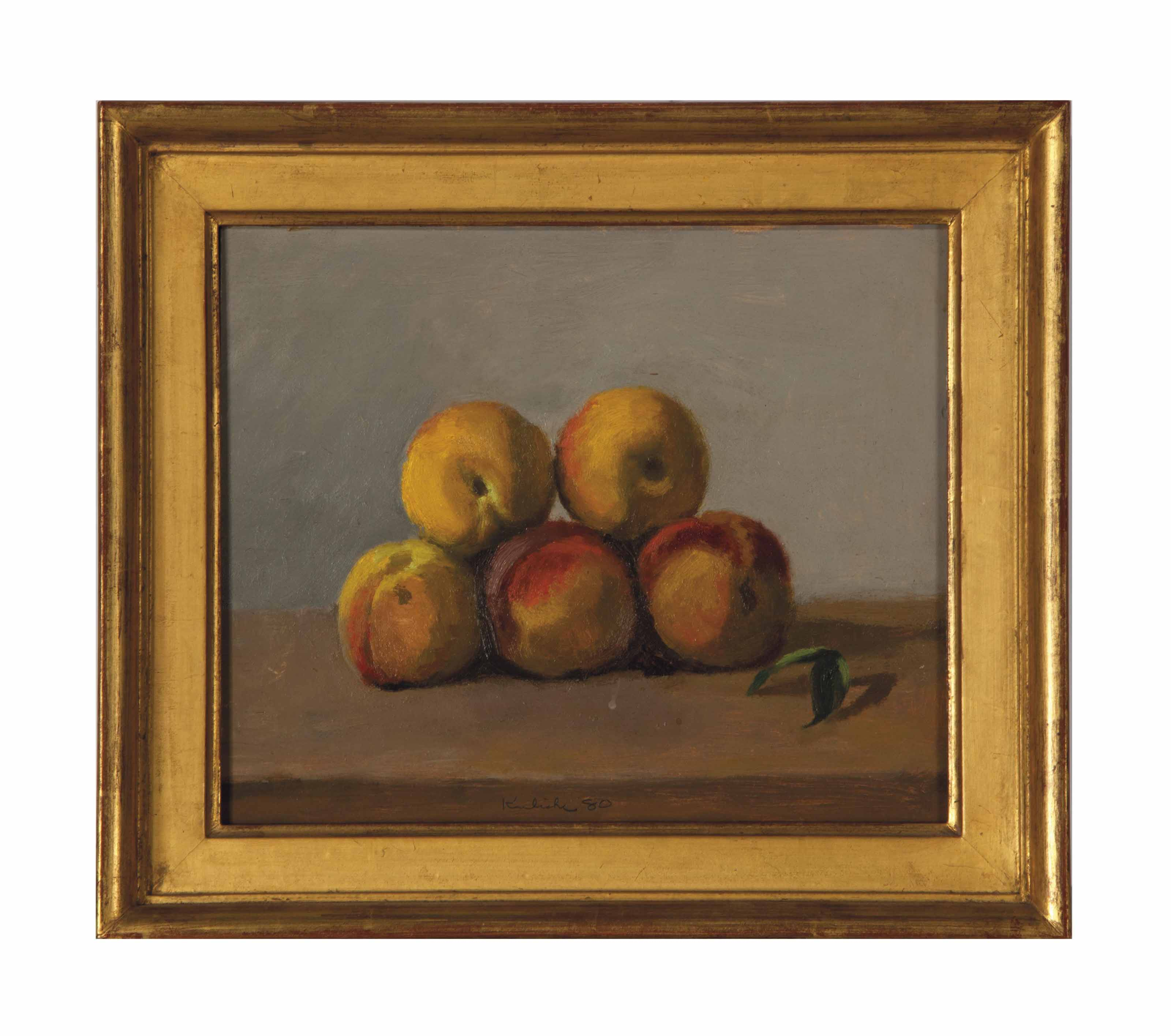Five Peaches and a Leaf on Gray