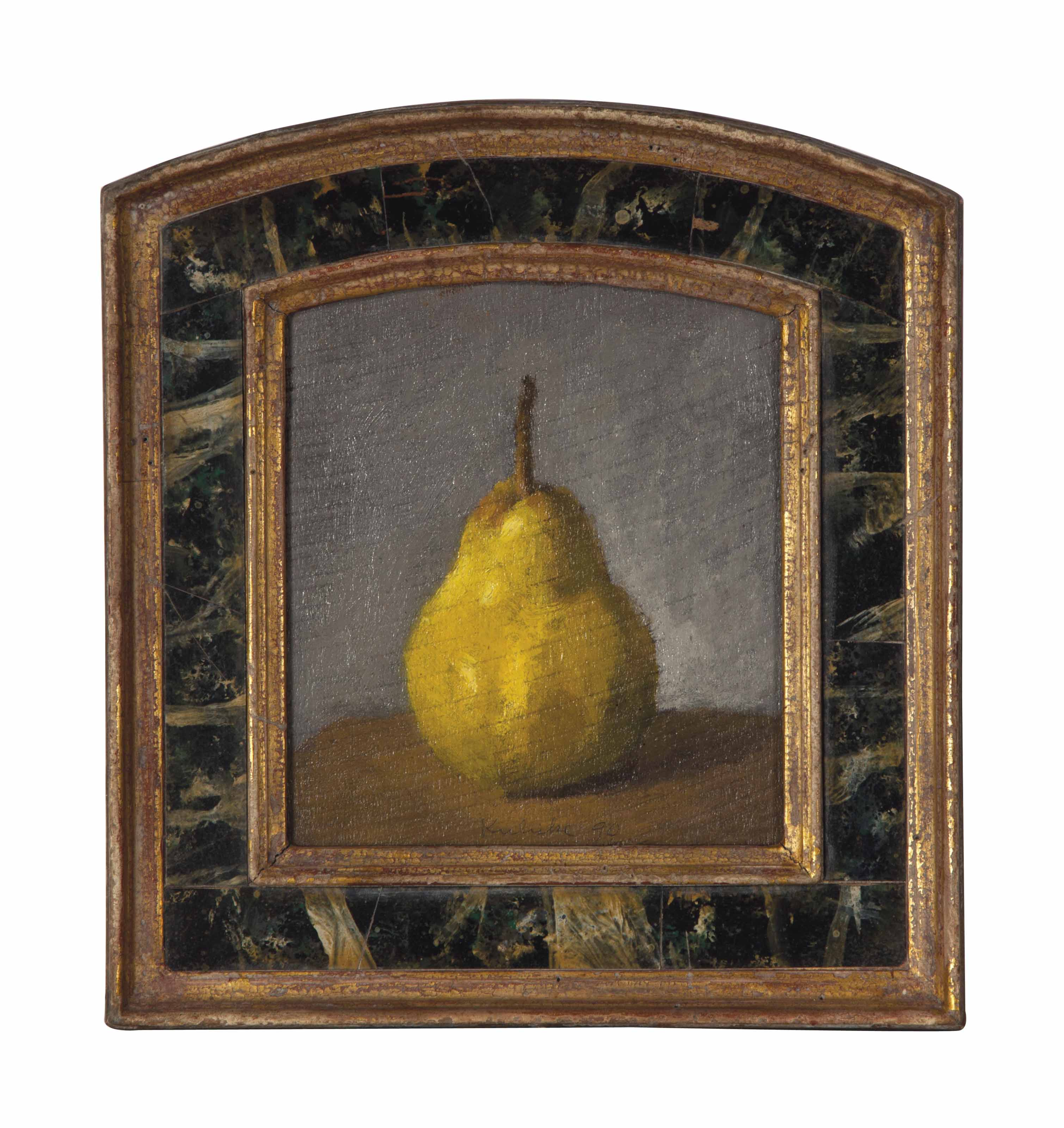 Single Yellow Pear on a Light Grey Background