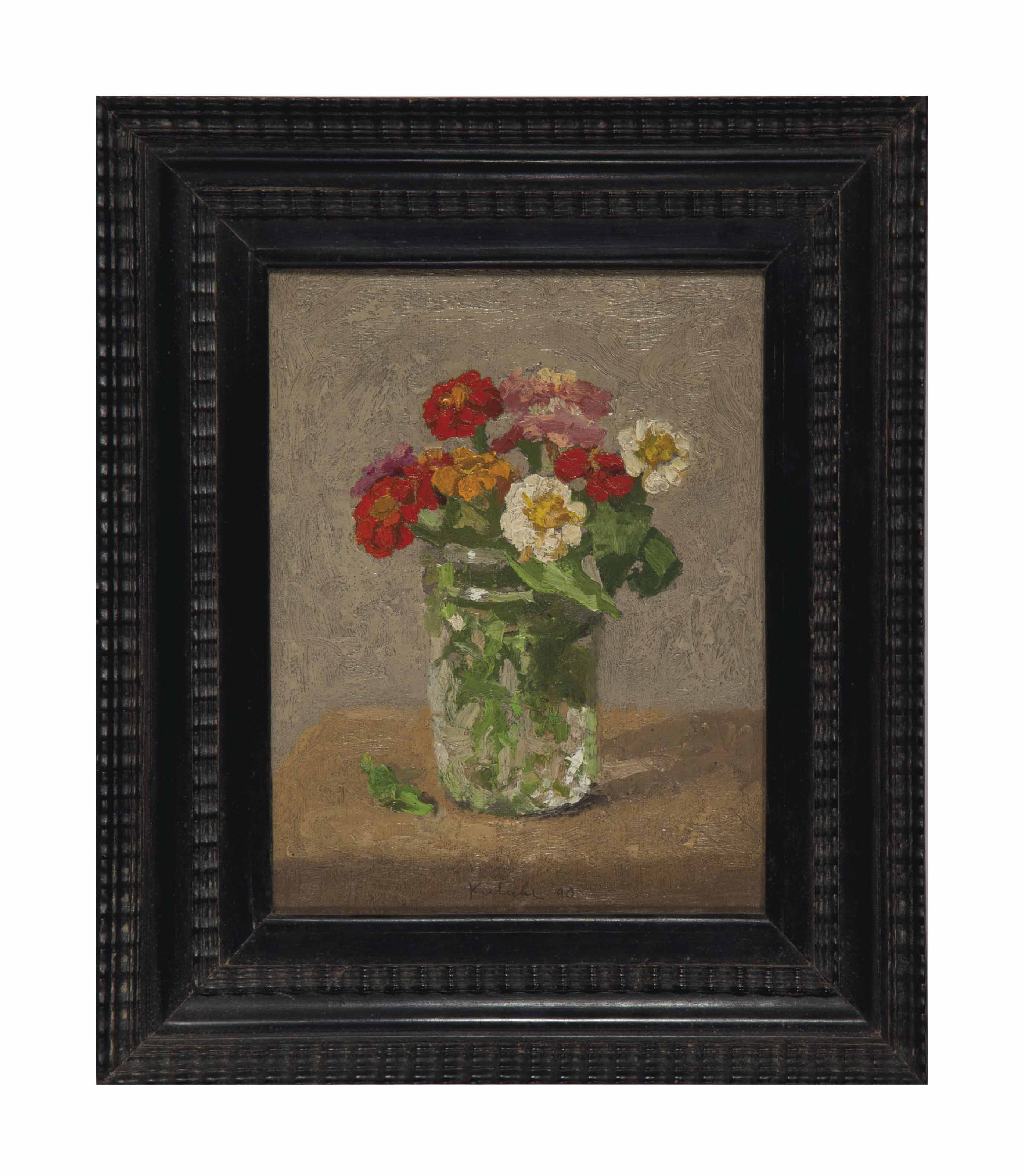 Zinnias in a Glass Jar on a Light Grey Background