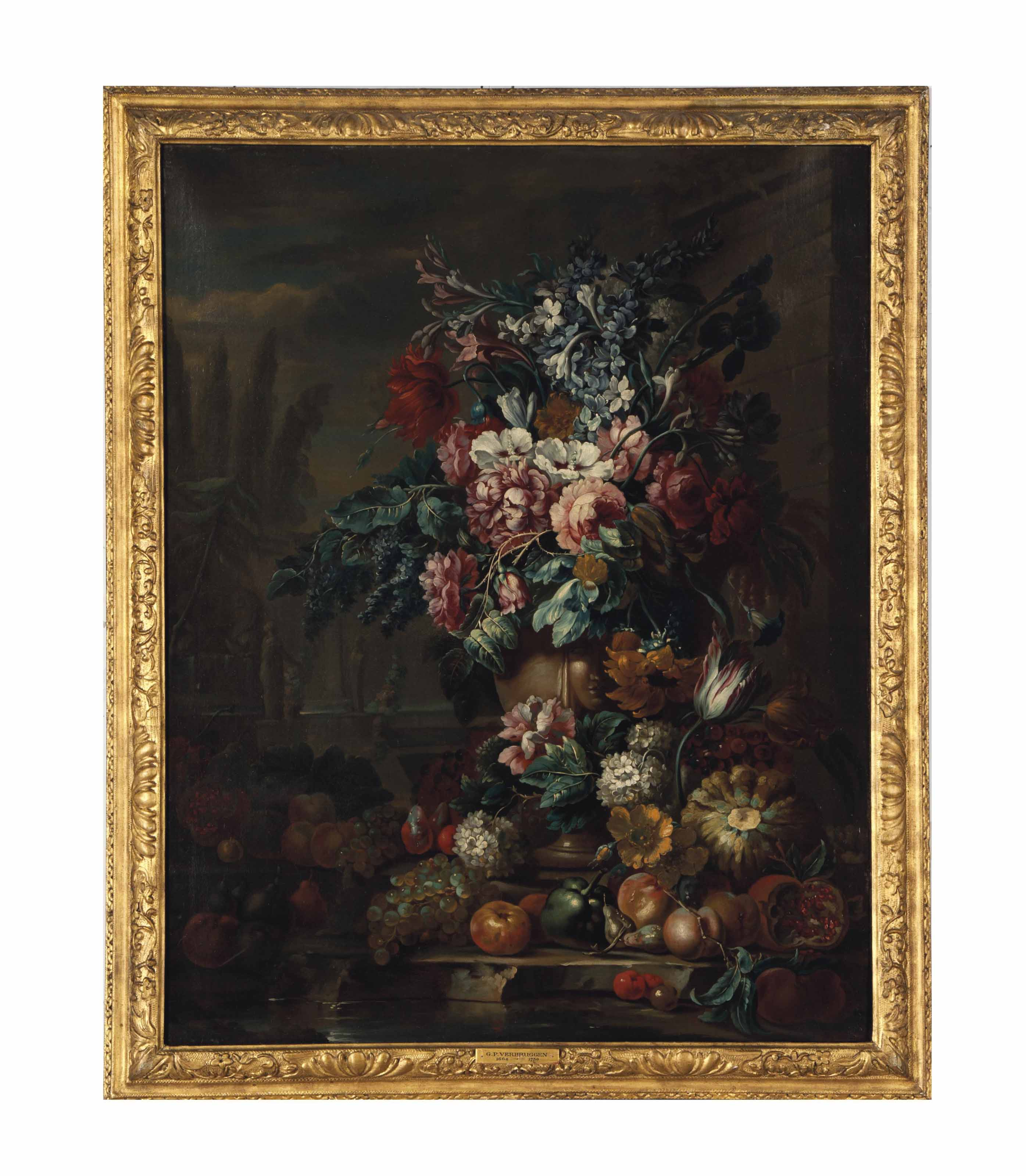 Still life of flowers in a vase on a stone ledge with various fruits