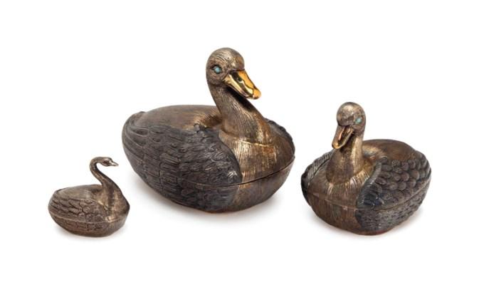 THREE MEXICAN SILVER BIRD-FORM