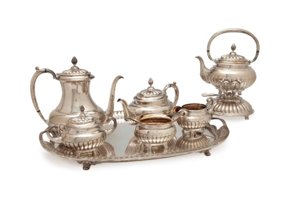 A MEXICAN SILVER SIX PIECE TEA