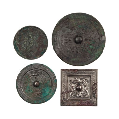 FOUR CHINESE SILVERED BRONZE M