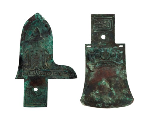 TWO CHINESE BRONZE AXES,