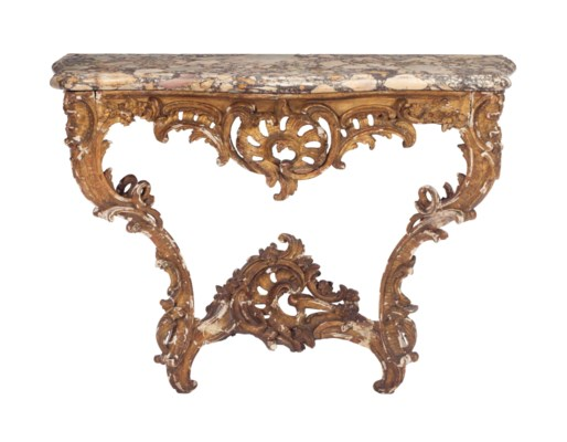 AN EARLY LOUIS XV GILTWOOD AND