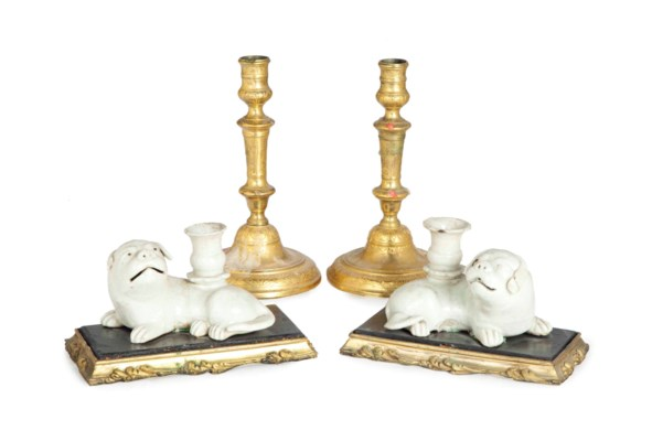 TWO PAIRS OF CANDLESTICKS,