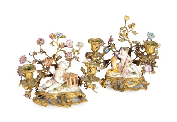 A PAIR OF LOUIS XV GILT BRONZE