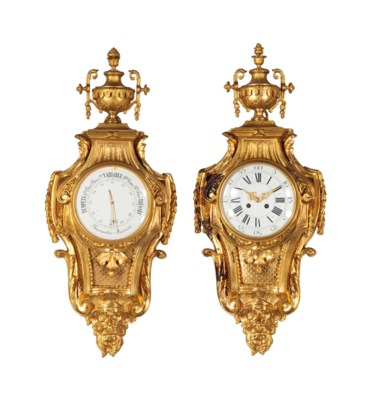 A FRENCH ORMOLU CLOCK AND BARO
