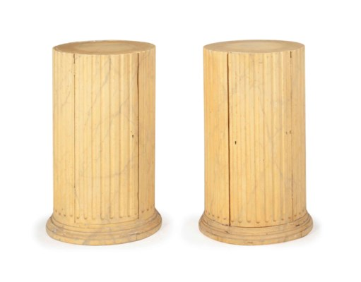 A PAIR OF FAUX MARBLE-DECORATE