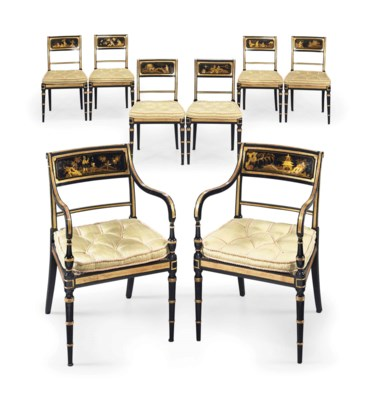A SET OF EIGHT REGENCY JAPANNE