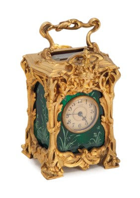 A FRENCH GILT-BRASS AND GREEN