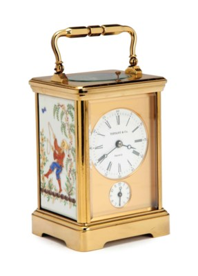 A FRENCH BRASS AND PORCELAIN S