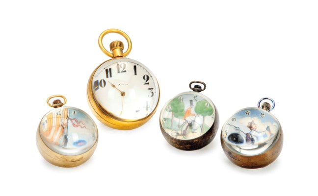 FOUR BALL-FORM TABLE CLOCKS,