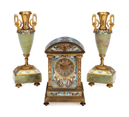A GILT-BRONZE AND CHAMPLEVE EN