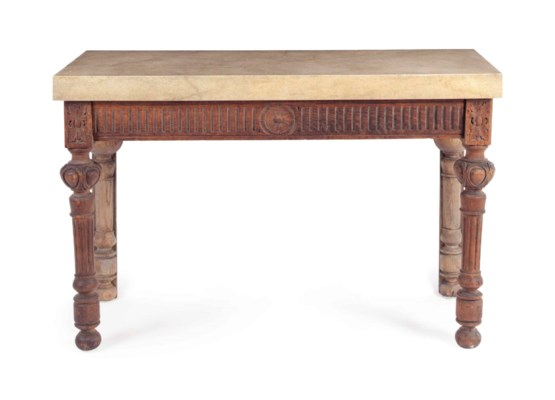A CARVED AND STAINED OAK AND F