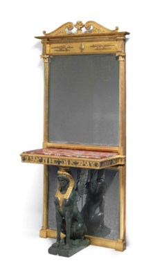 A REGENCY BRONZE-PAINTED AND P