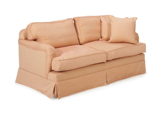 A PINK AND BEIGE-UPHOLSTERED L