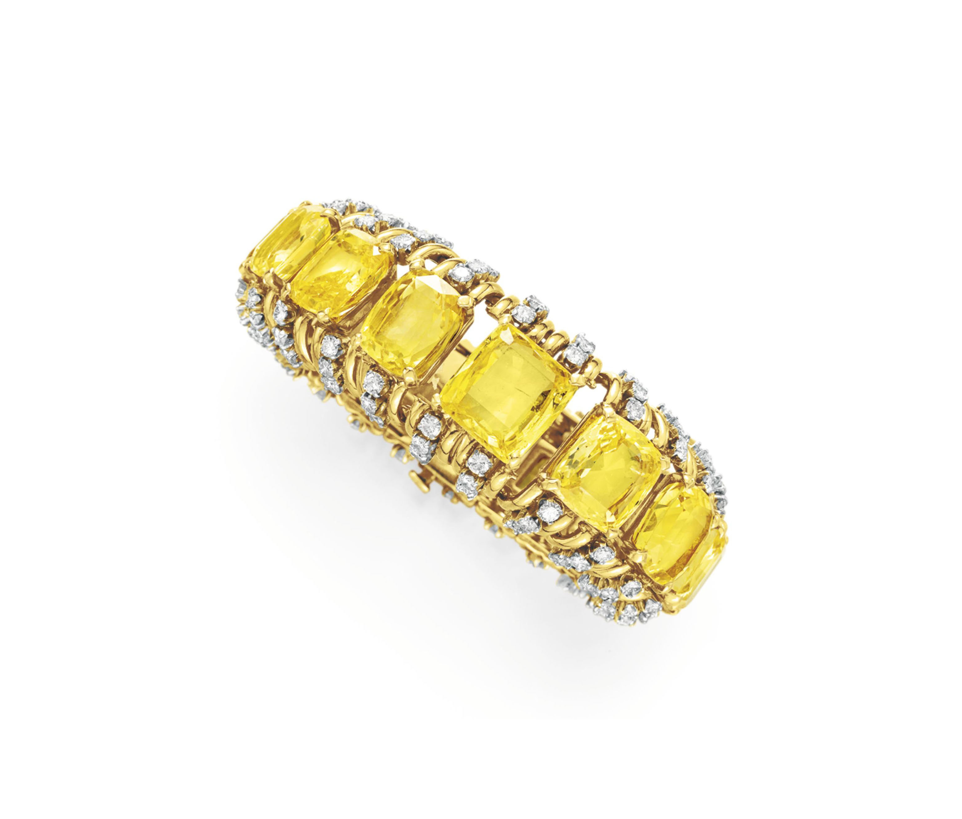 A YELLOW SAPPHIRE AND DIAMOND BRACELET, BY VERDURA