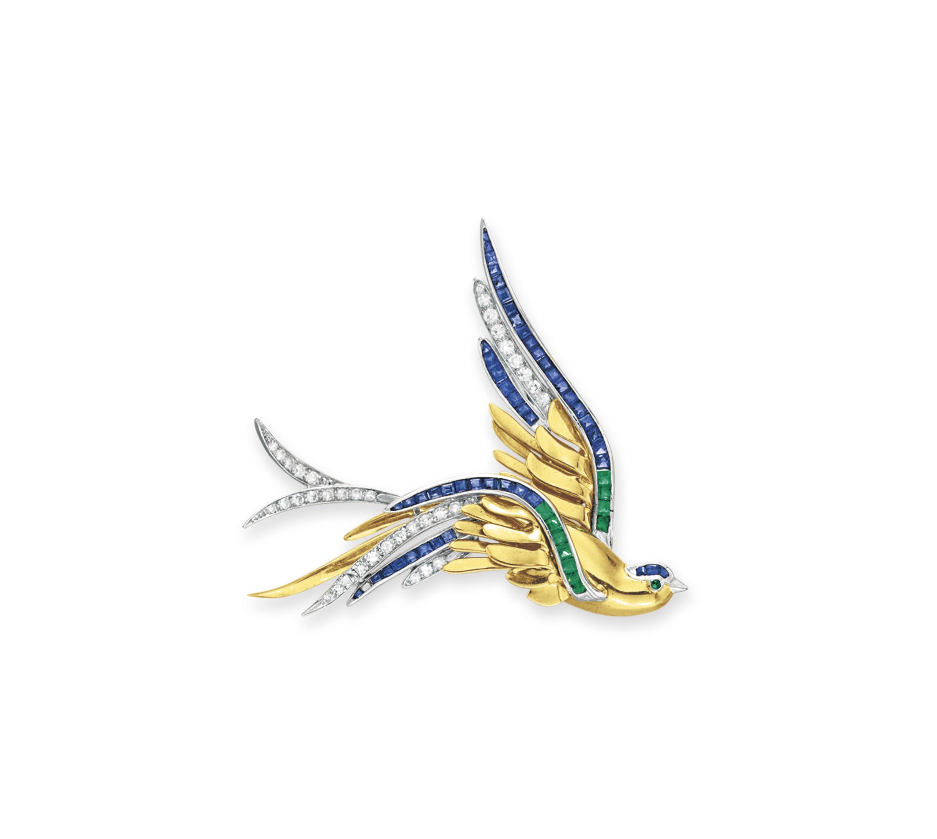 A DIAMOND, GEM-SET AND GOLD BIRD BROOCH, BY BAILEY BANKS & BIDDLE