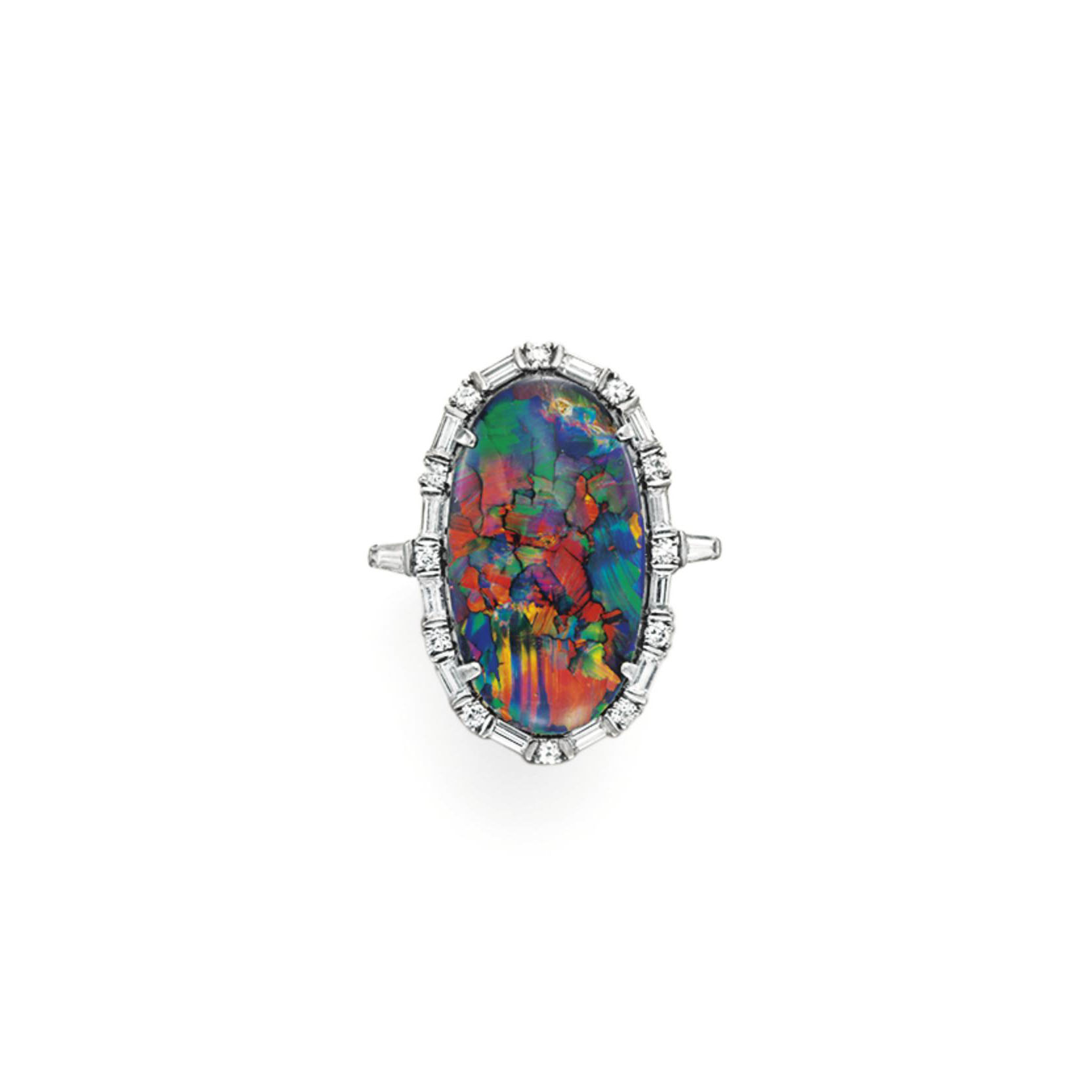 AN OPAL AND DIAMOND RING, BY BAILEY BANKS & BIDDLE