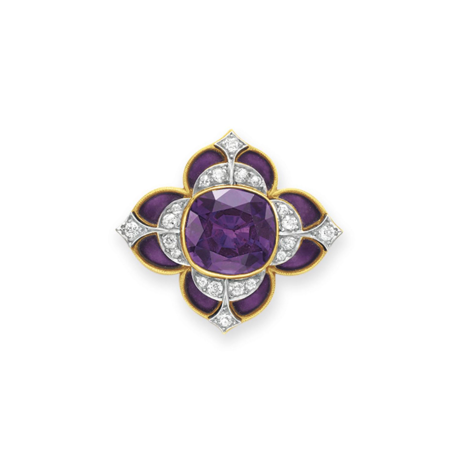 AN ANTIQUE AMETHYST, DIAMOND AND ENAMEL BROOCH, BY MARCUS & CO.