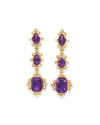 A PAIR OF ANTIQUE AMETHYST AND