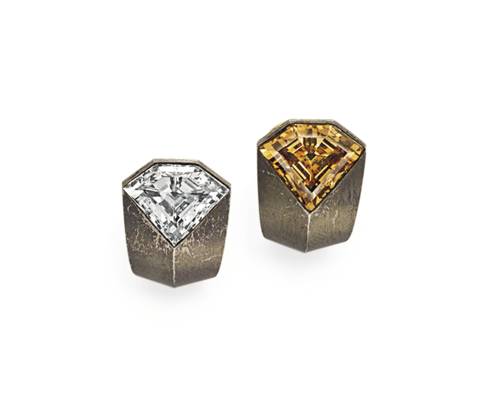 A PAIR OF DIAMOND, COLORED DIAMOND AND STEEL EAR CLIPS, BY HEMMERLE