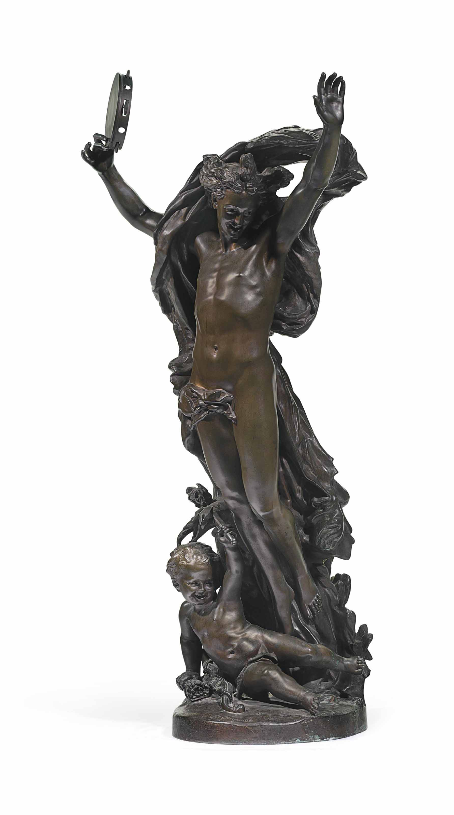 A FRENCH PATINATED BRONZE GROUP, ENTITLED 'LE GENIE DE LA DANSE'