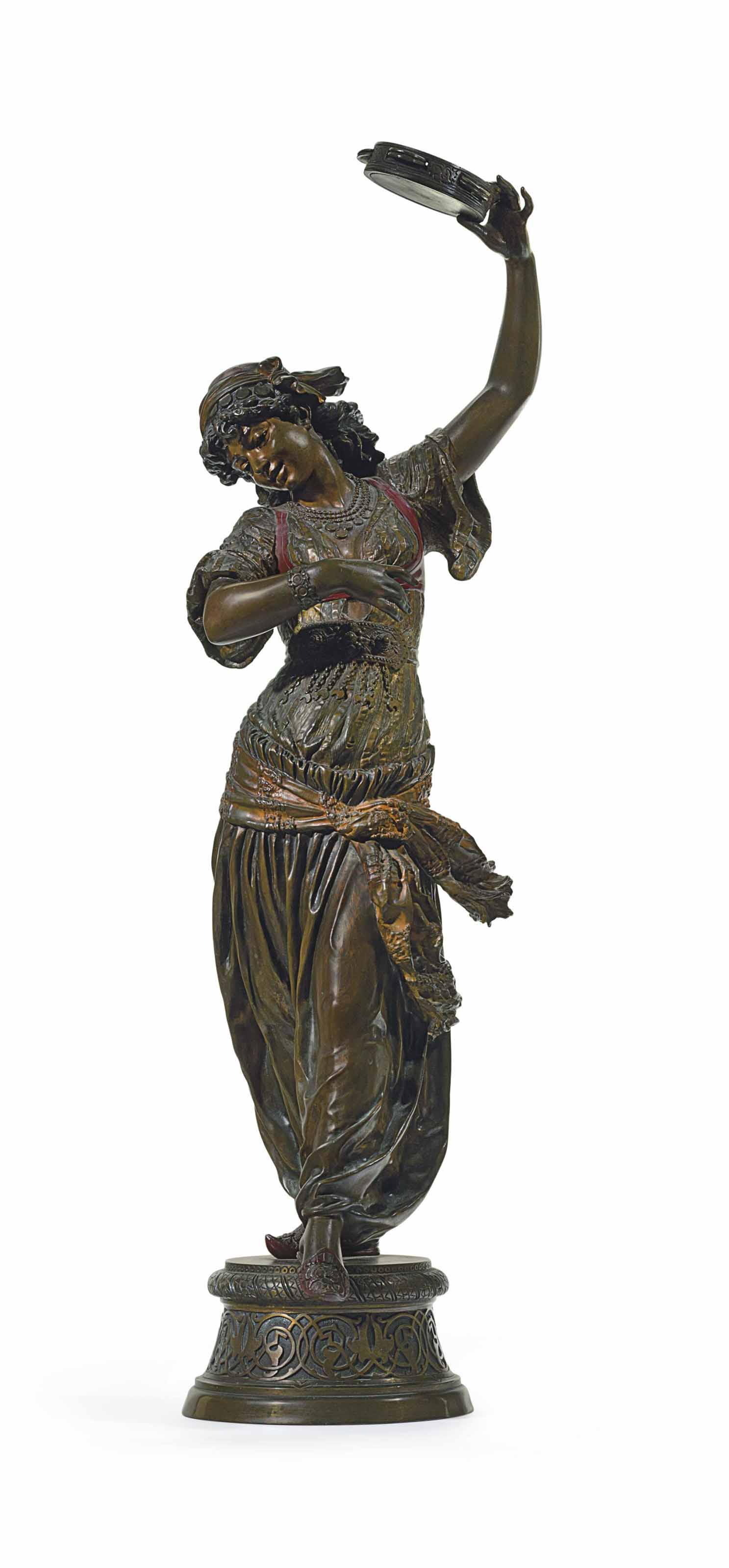 A FRENCH POLYCHROME-PATINATED BRONZE FIGURE OF AN ORIENTALIST DANCER, ENTITLED 'ZINGARA'