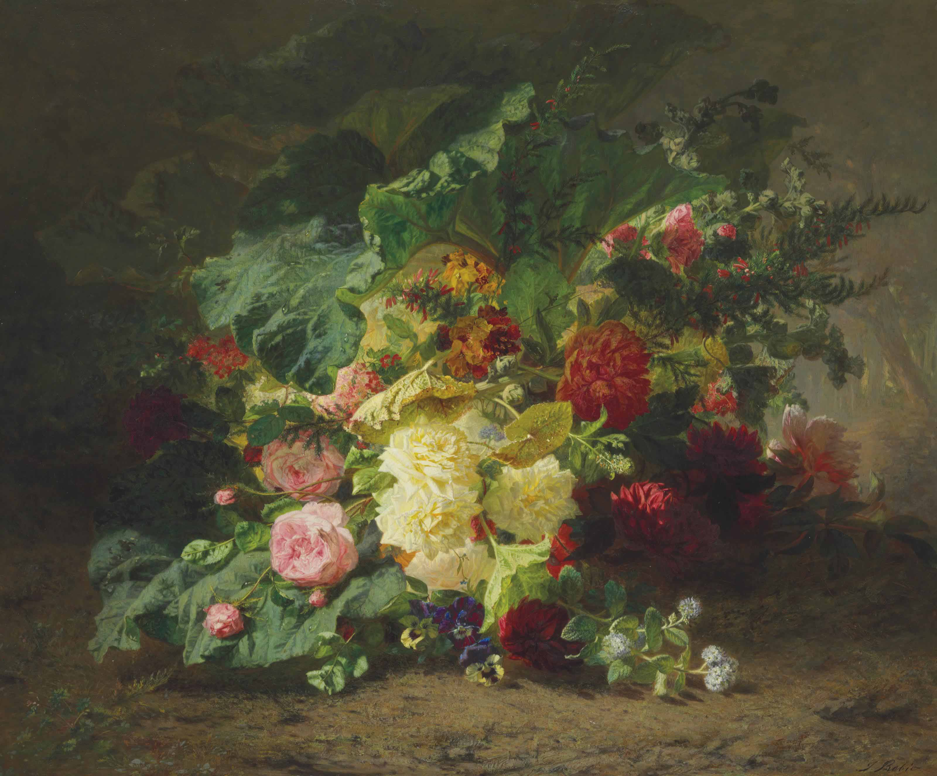 Roses and Wildflowers in a Forest