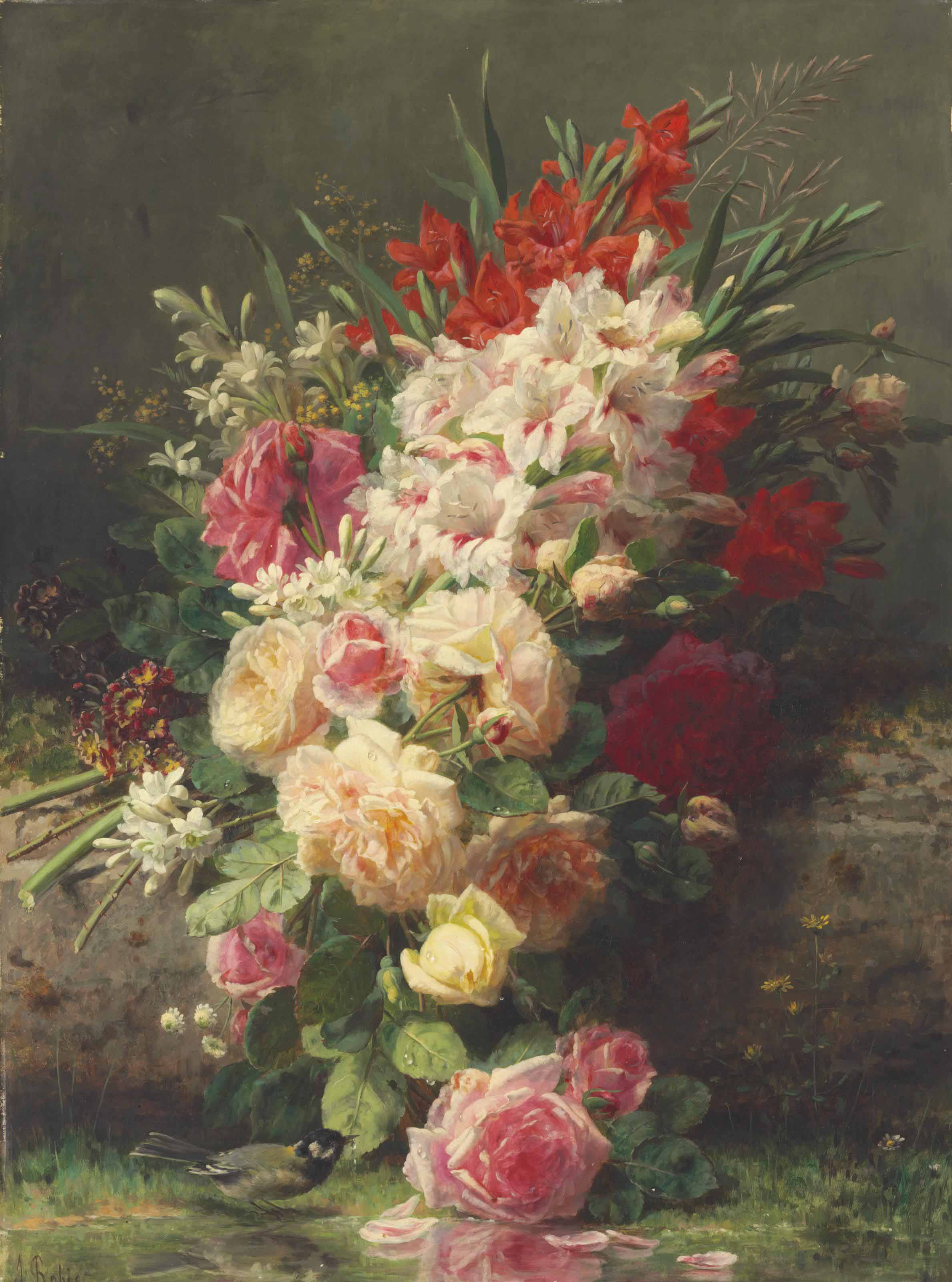 A Still Life with Roses, Gladioli and other Flowers on a Ledge with a Bird by a Stream