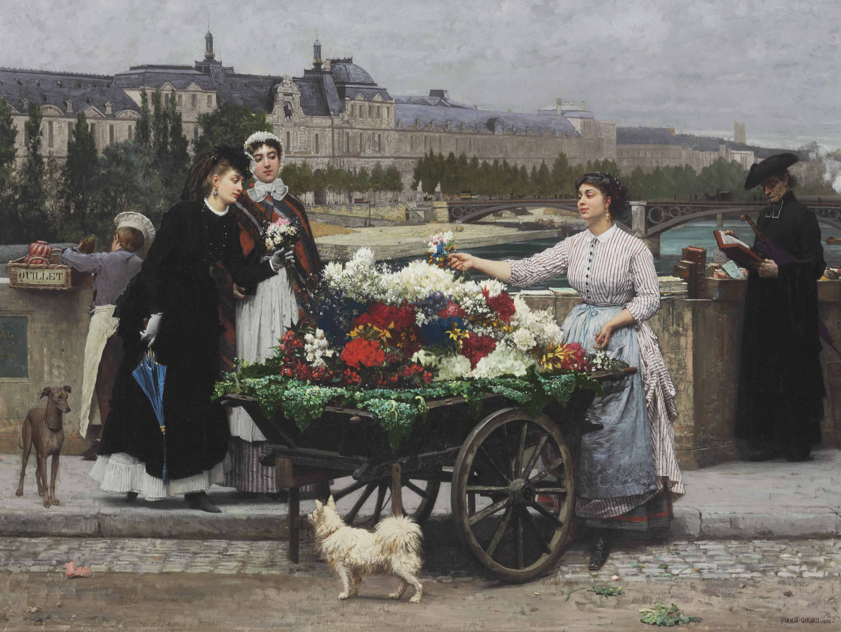The Flower Seller on the Pont Royal with the Louvre beyond, Paris
