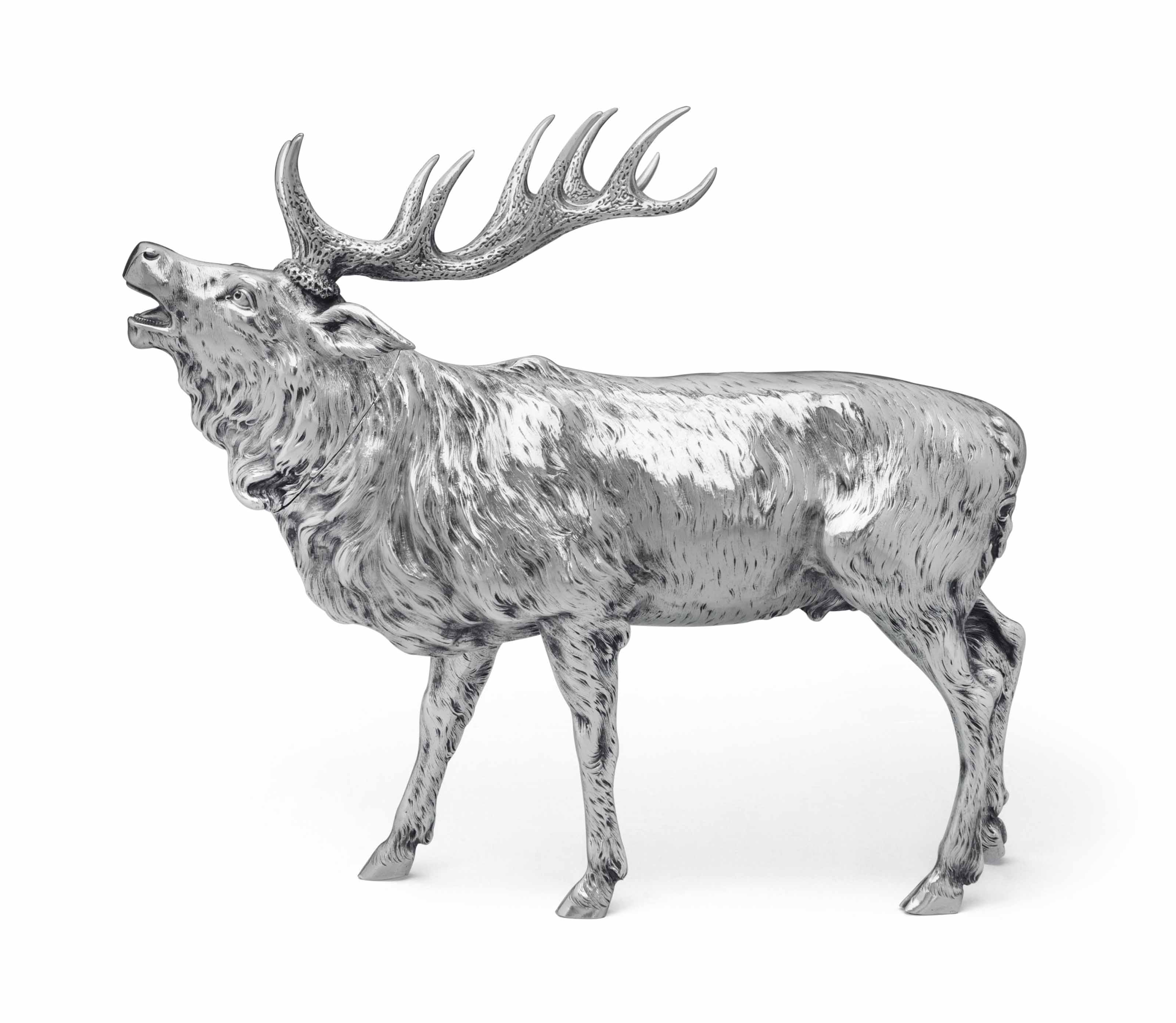 A LARGE GERMAN SILVER MODEL OF A STAG