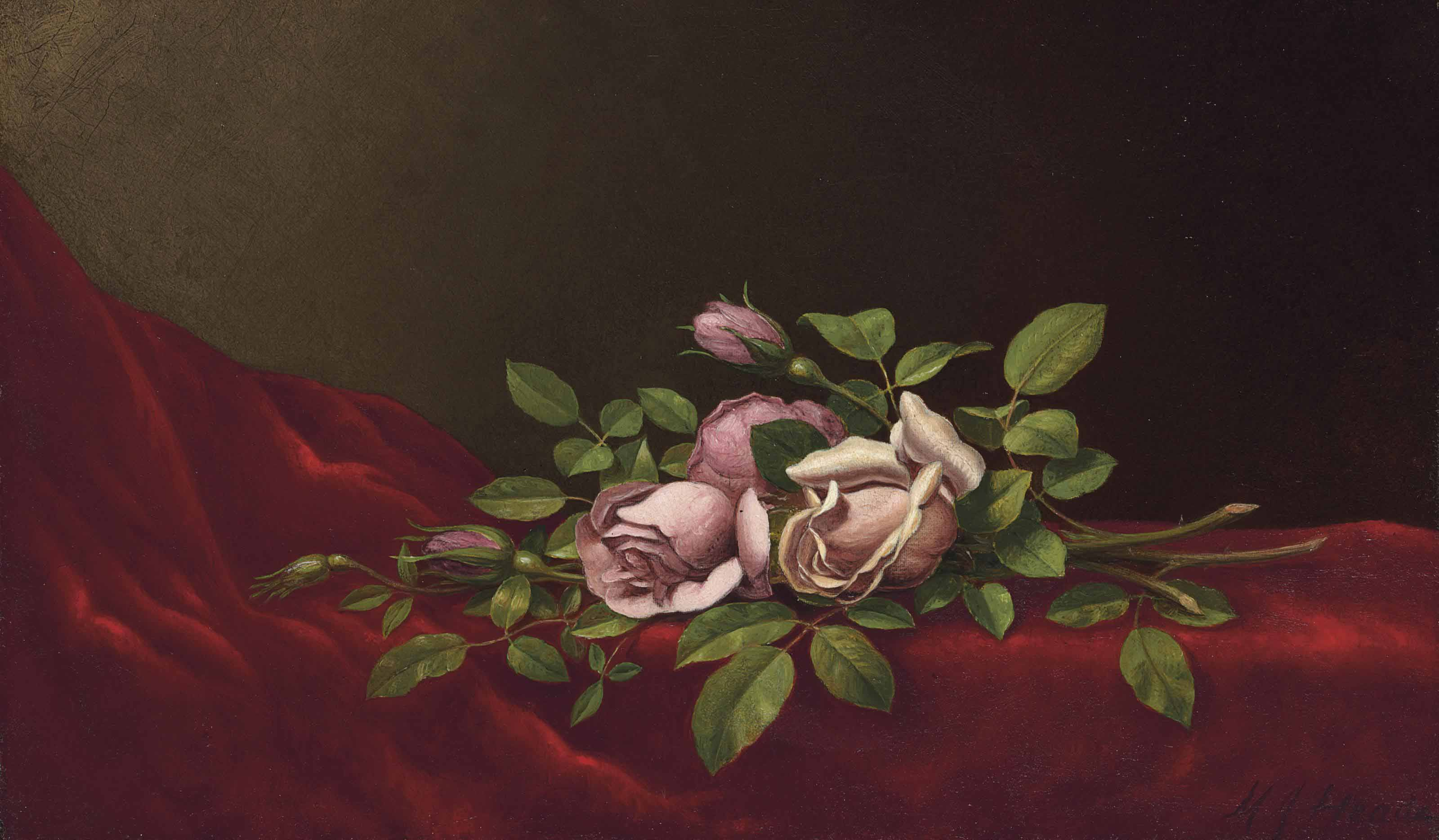 Pink Roses on a Red Cloth