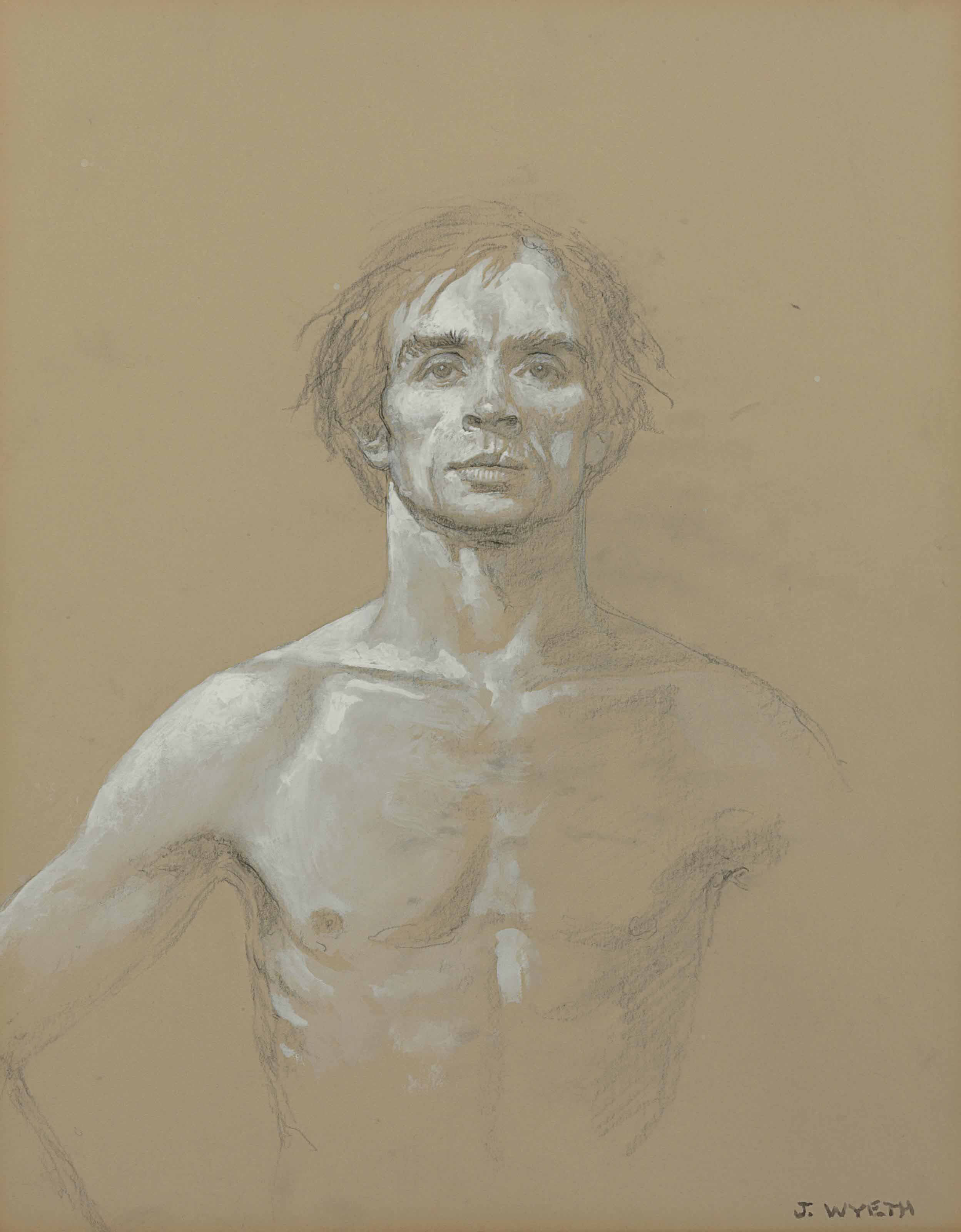 Full Face and Chest, Unfinished Arm, Nureyev (Study #11)