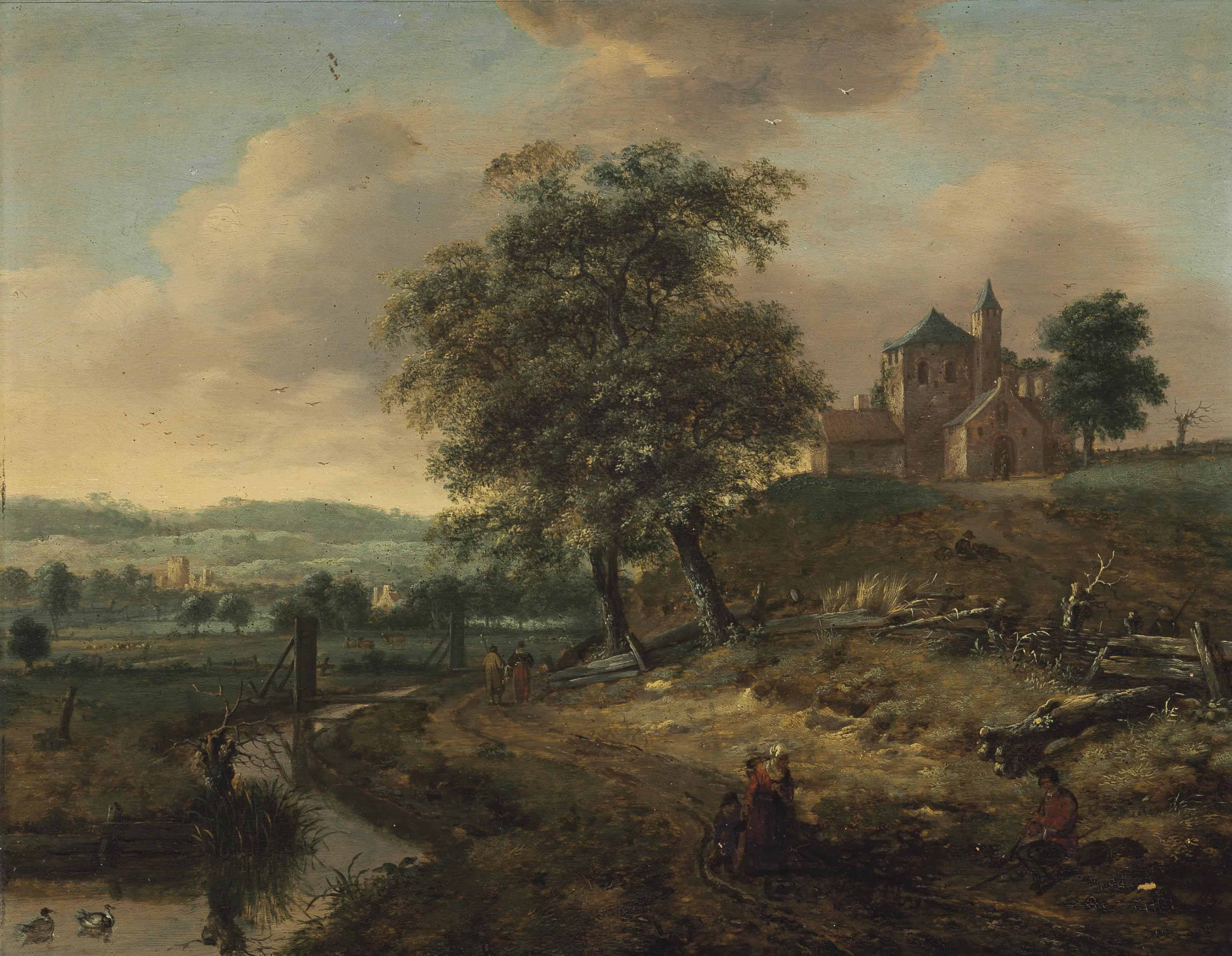 A landscape with travellers on a path by a stream and a medieval church