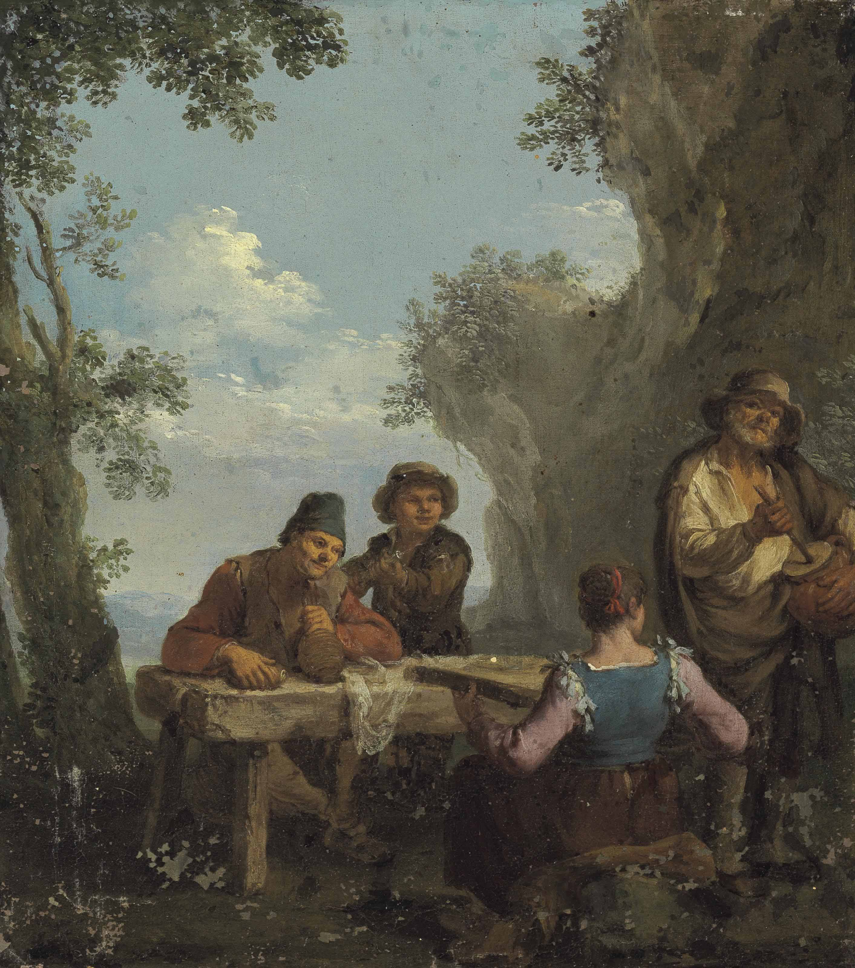 Four peasants playing music