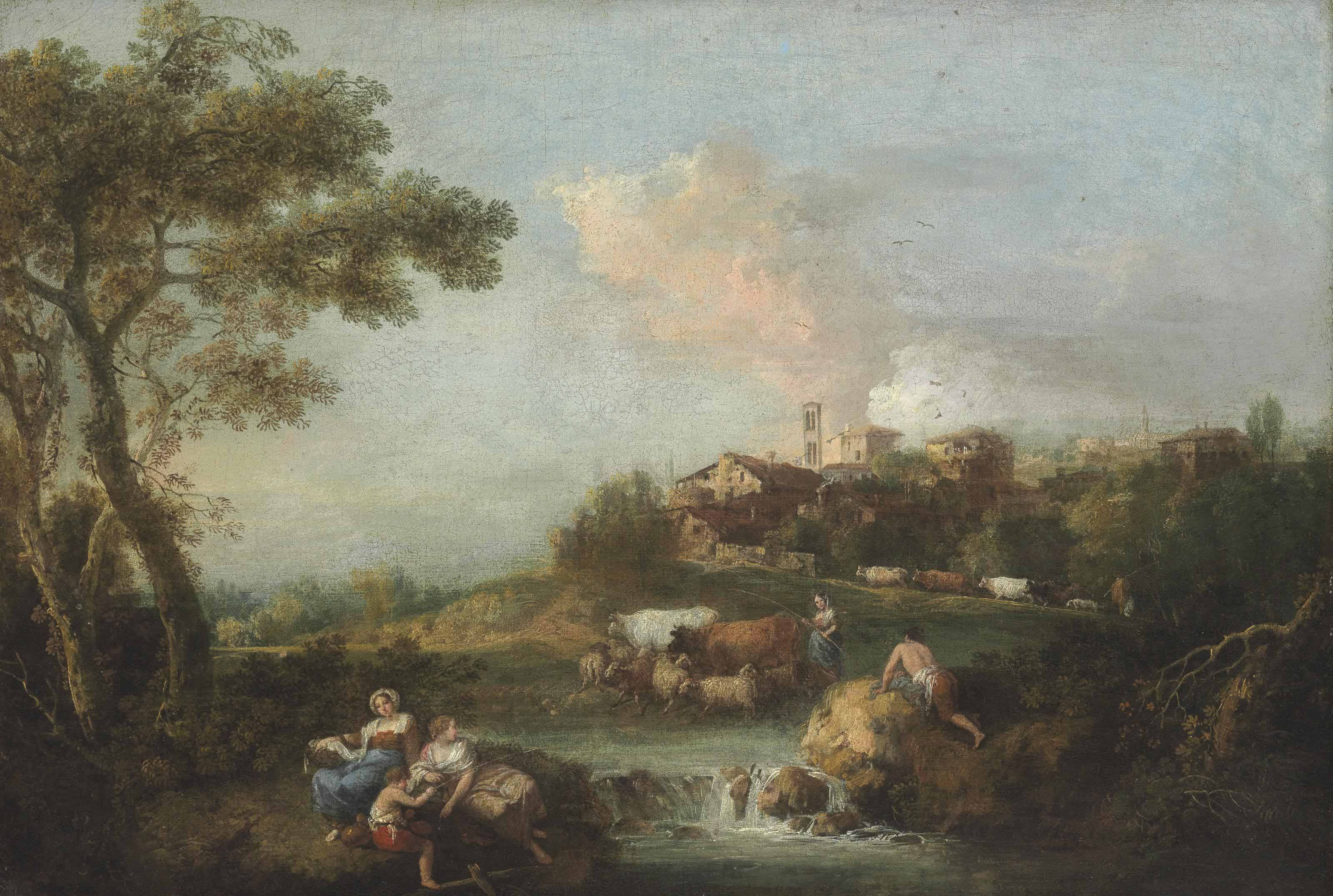 Shepherds and shepherdesses fishing by a stream in an Italianate landscape