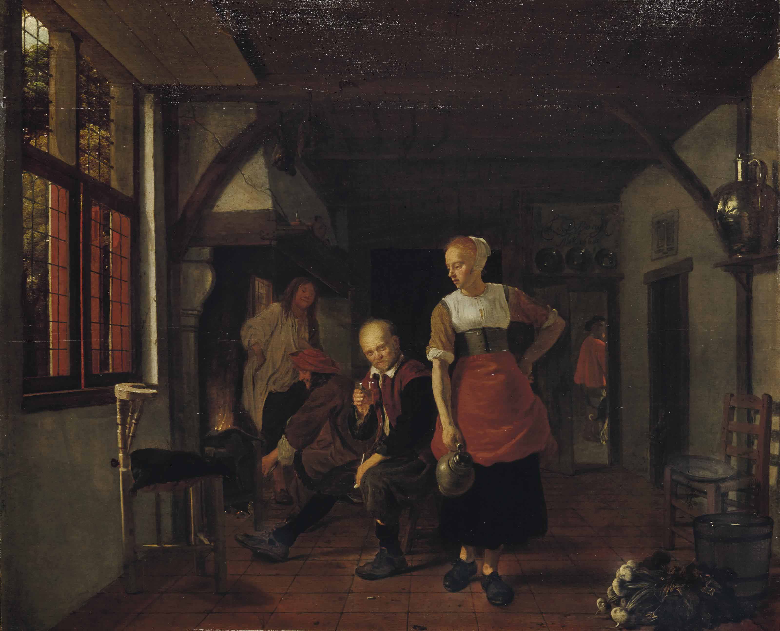 An interior with a maid holding a jug and three men beside a fire