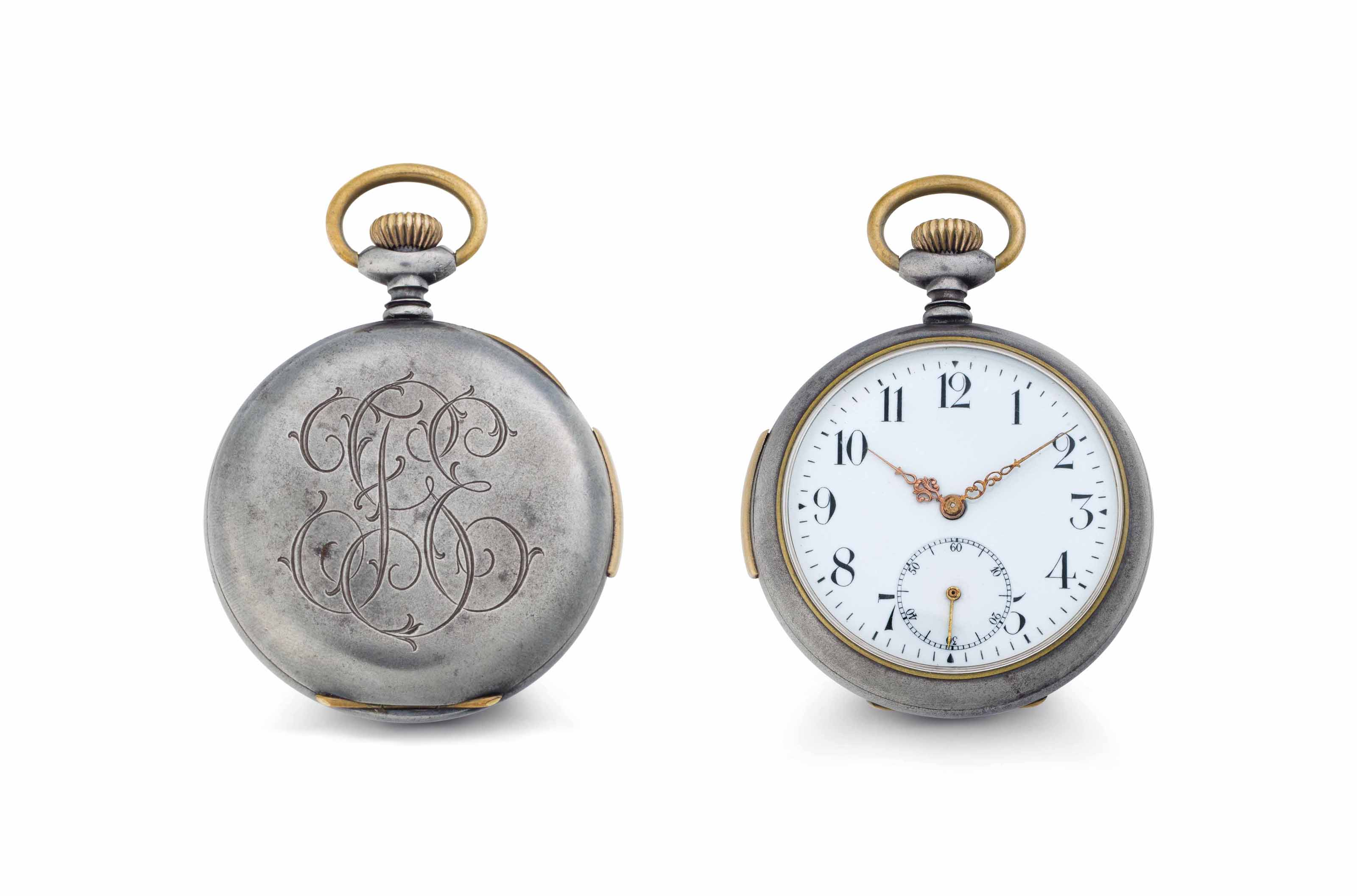 Golay. A Gun Metal Minute Repeating Openface Keyless Lever Pocket Watch