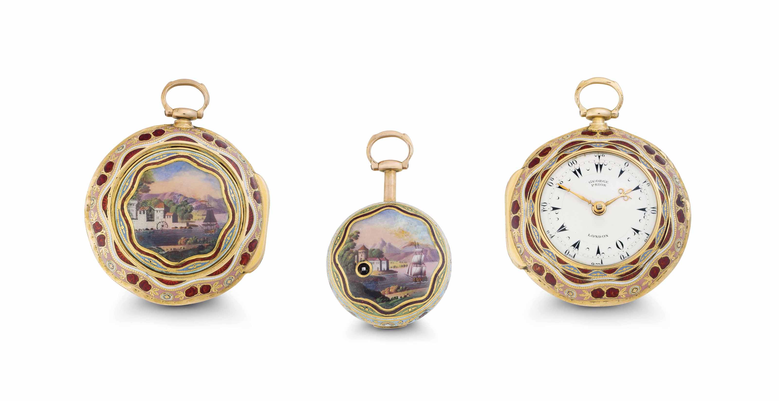 Edward Prior. A Fine and Rare 18k Gold and Enamel Triple Case Verge Watch Made for the Turkish Market