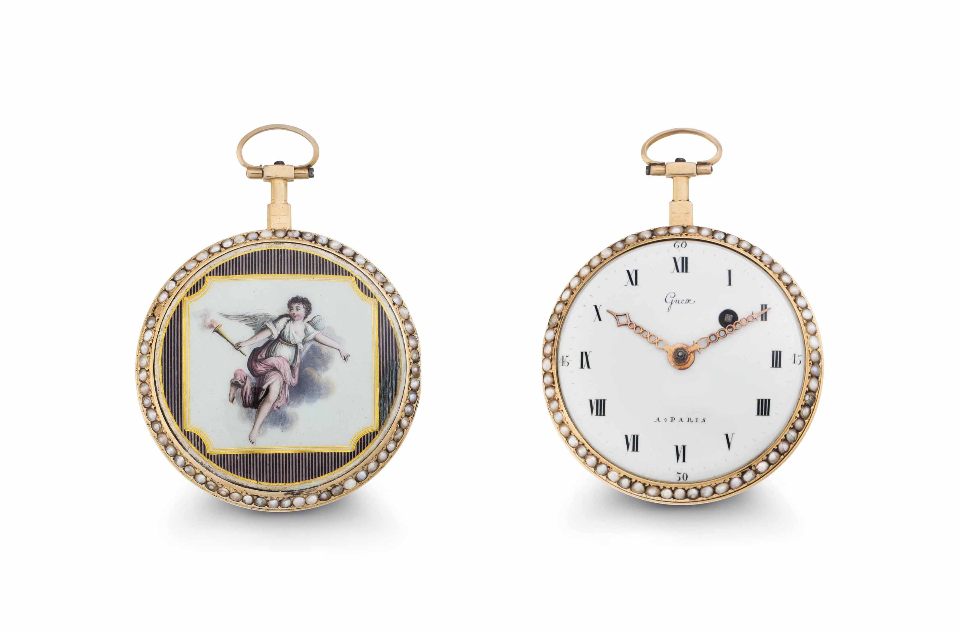 Guex. An 18k Pink Gold, Enamel and Pearl-set Openface Verge with Later Enamel Back