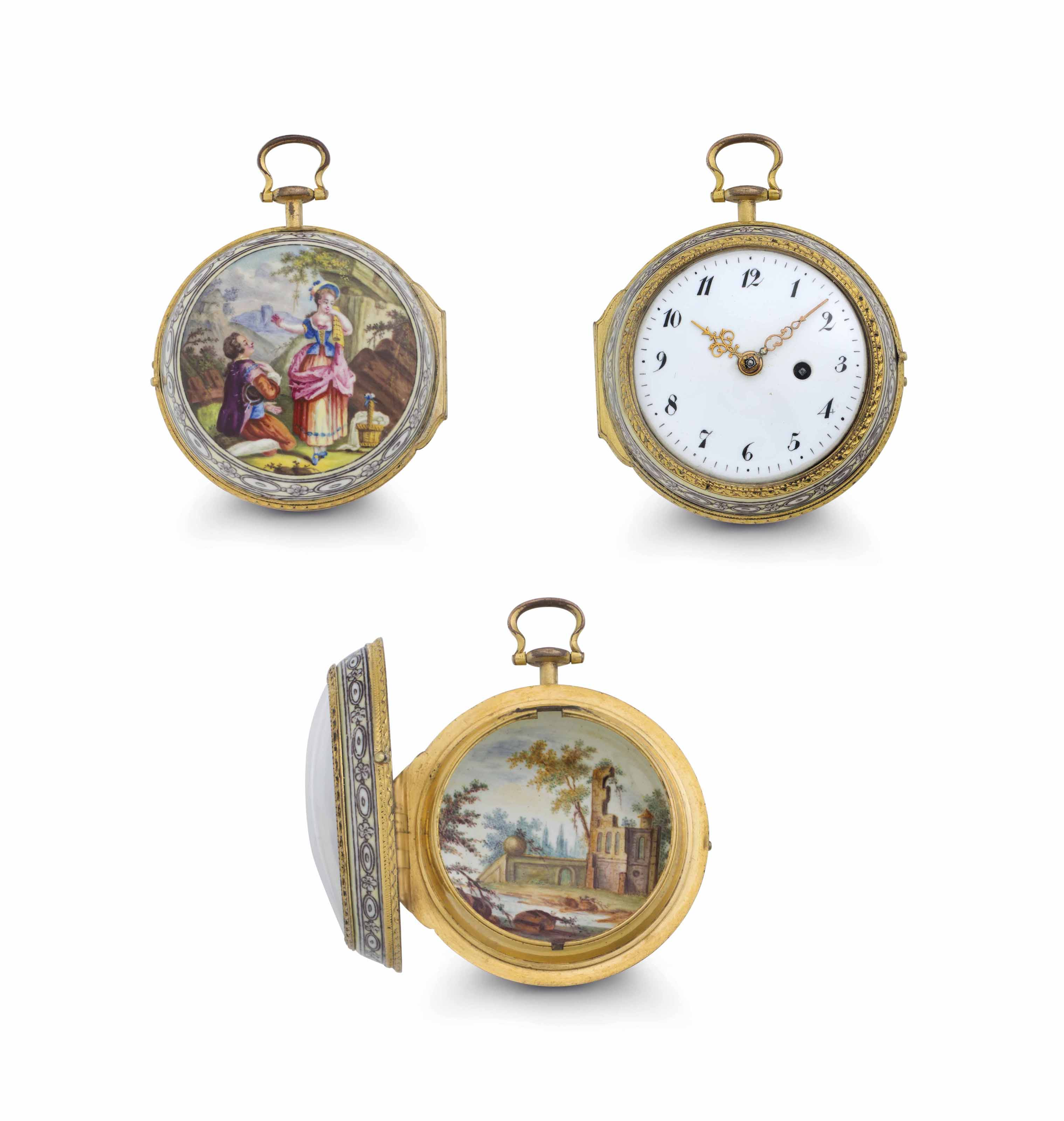 Williamson.  A Fine and Rare Gilt and Porcelain Enamel Openface Verge Pocket Watch