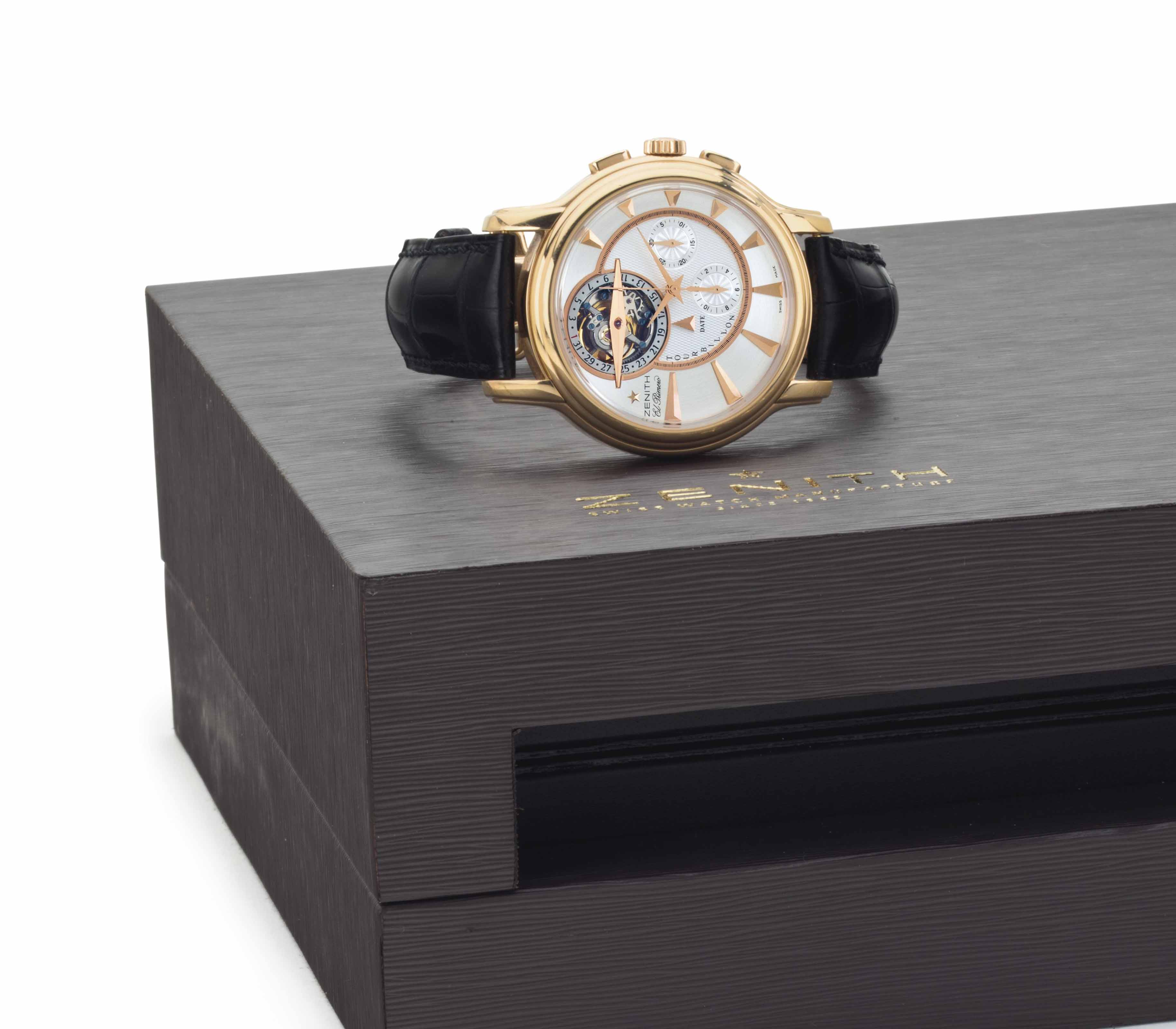 Zenith. A Very Fine and Large 18k Pink Gold Limited Edition Tourbillon Chronograph Wristwatch with Date