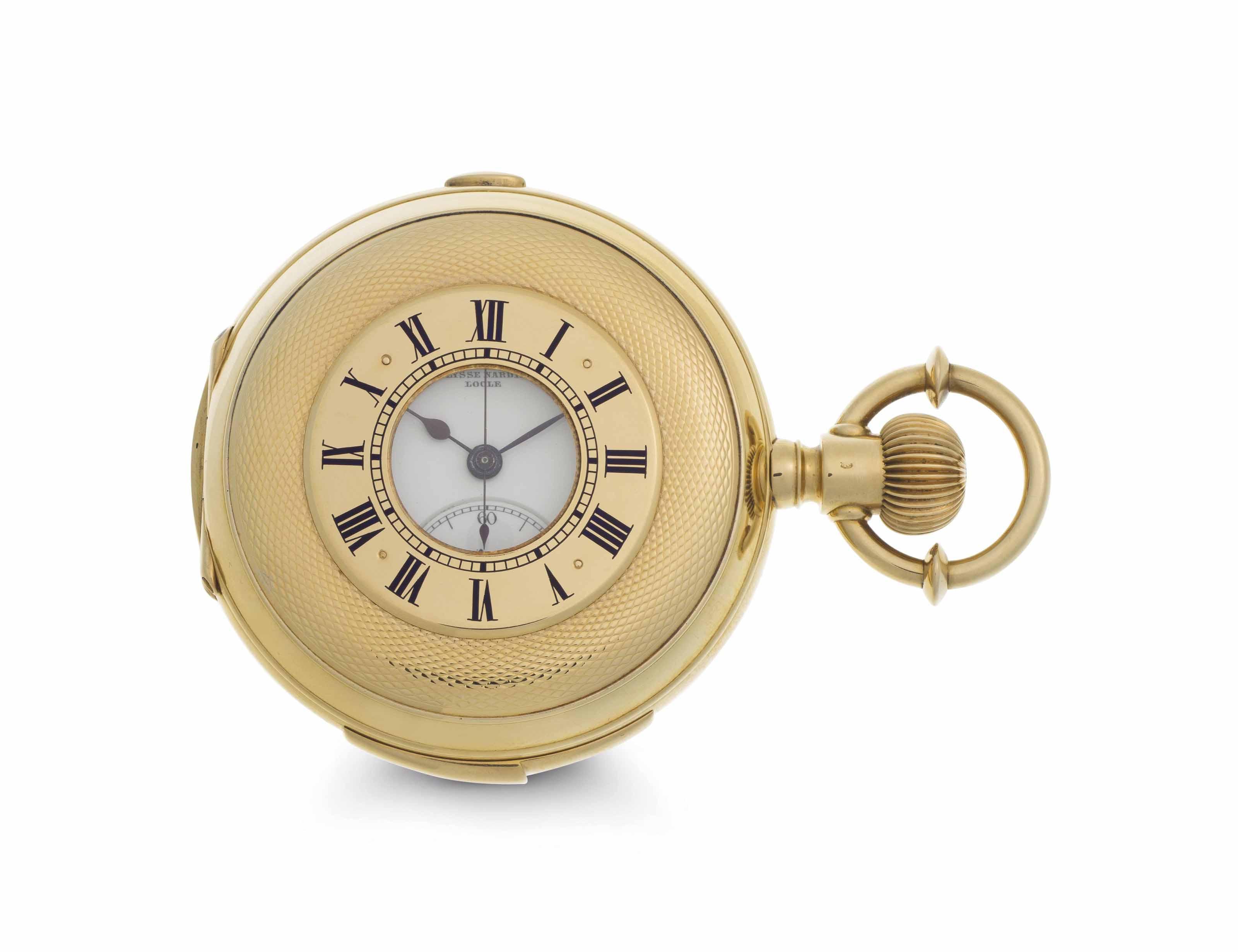 Ulysse Nardin. A Fine 18k Gold and Enamel Minute Repeating Half-Hunter Case Chronograph Keyless Lever Pocket Watch